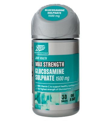 #Boots Pharmaceuticals Boots Max Strength Glucosamine Sulphate 1500 mg #56 Advantage card points. FREE Delivery on orders over 45 GBP. (Barcode EAN=5045097866912)