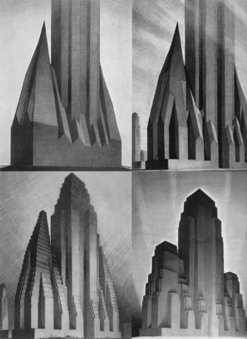 Hugh Ferriss's sketches on NY Zoning envelopes, super amazing, via steph