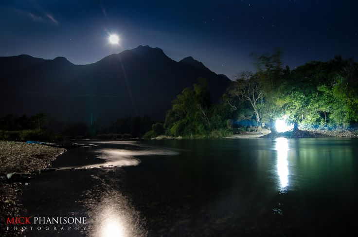 moonset at Nam Xong, Vang Vieng District, Lao PDR