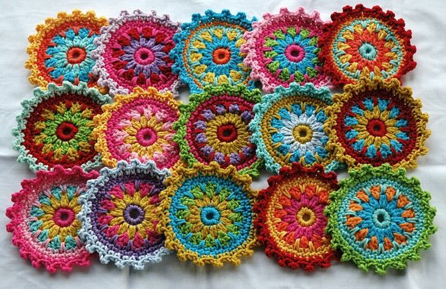 love - colorful crochet coasters