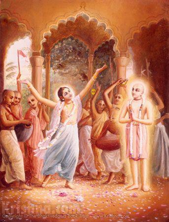 """It is stated several times in Chaitanya-caritamrita, Antya-lila, Chapter 2 that Lord Chaitanya always appears wherever Nityananda Prabhu dances in ecstasy."""