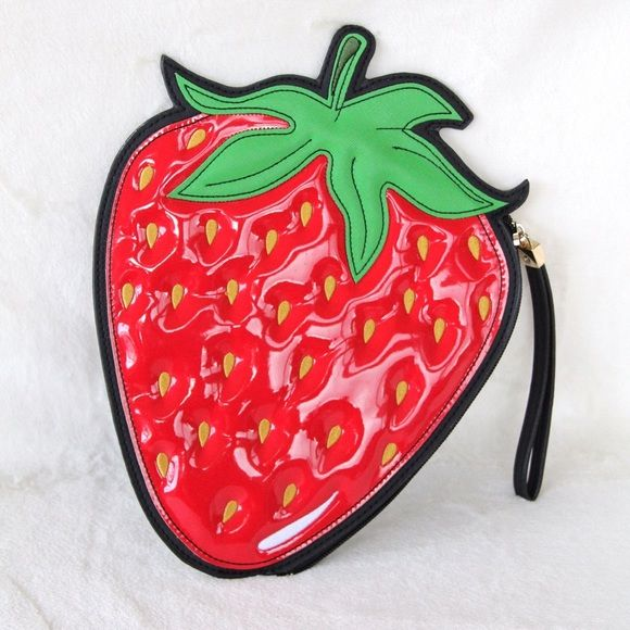 Strawberry Wristlet This strawberry wristlet is so cute for summer! Such a refreshing accessory to add to any outfit! Excellent condition. New Look Bags Clutches & Wristlets