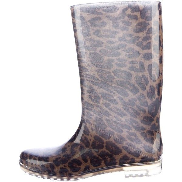 Pre-owned Stuart Weitzman Mid-Calf Rain Boots (42.715 CLP) ❤ liked on Polyvore featuring shoes, boots, animal print, wellies boots, print rain boots, mid calf rain boots, mid-calf boots and leopard rain boots