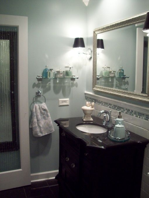 Spa blue bathroom makeover in black, white, blue and