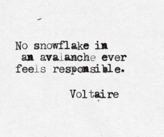 """""""No snowflake in an avalanche ever feels responsible"""" by Stanislaw Jerzy Lec (More Unkempt Thoughts - Myśli nieuczesane nowe). Misattributed to Voltaire."""