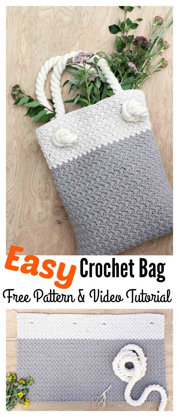 Free Crochet Tote Bag Pattern For Beginners | Imágenes | Pinterest ...