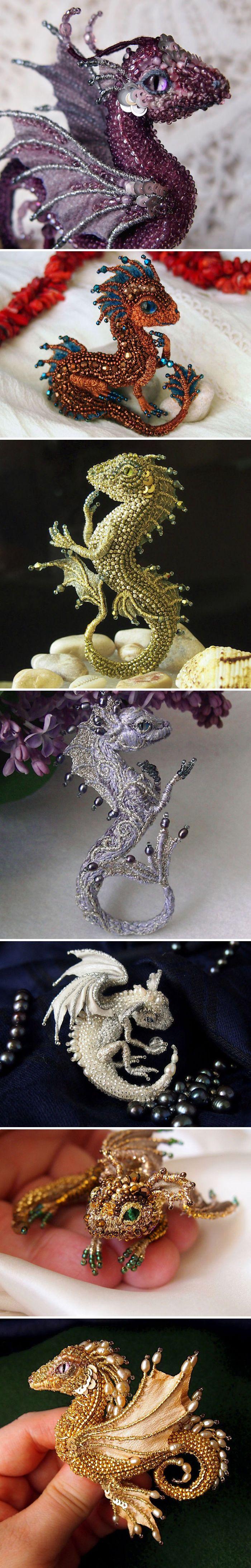 Amazing dragon brooches by master of beadweaving Alyona Litvin | Потрясающие броши в виде драконов от мастера бисероплетения Алены Литвин