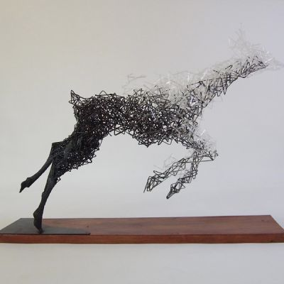 Tomohiro Inaba est un artiste japonais, sculpteur et poète vivant a Tochigi au Japon. Il crée des sculptures étonnantes, poétiques et fragiles à base de fils de fer, d'acier et de papier thermosensible. Les oeuvres semblent se désintégrer en un million de vecteurs, laissant libre notre imagination à toute interprétation. Jambes de femme, animal, crâne humain… les sujets de l'artiste sont variés et gardent toujours un aspet aérien et éphémère.