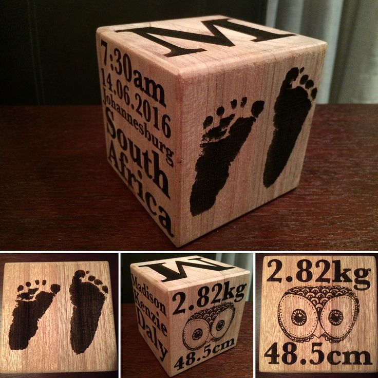 Baby block laser engraved as keep sakes. Put your baby's details and foot or hand prints onto this keep sake.