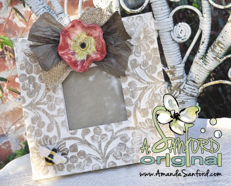 Mississippi Pottery Red Poppy Handbuilt Bulap Bumble Bee Shabby Chic Distressed Picture Photo Frame