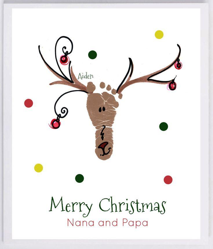 Reindeer Footprint Wandkunst – die tatsächlichen Drucke Ihres Kindes! Opa und Opa Weihnachtsgeschenk, Babys erste Weihnachten, Fußabdruck Kit 306B-pap