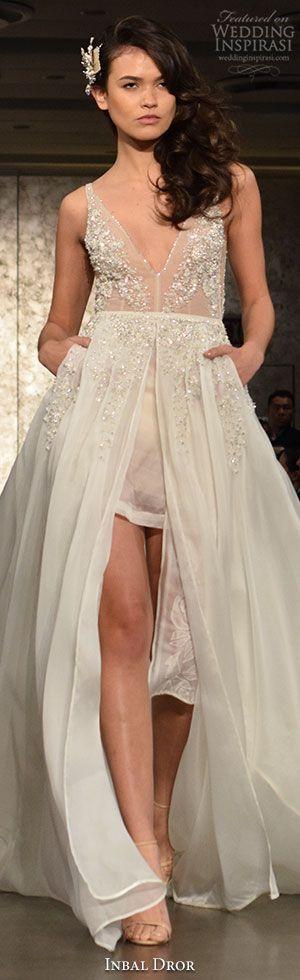 New York Bridal Fashion Week Day 1: Inbal Dror Fall 2016 Wedding Dress #weddingdress #weddingdresses #bridal #nybfw #nybm #bfw #newyorkbridalmarket #newyorkbridalfashionweek #newyorkbridalweek #runway #fashionshow #alineweddingdress #runway