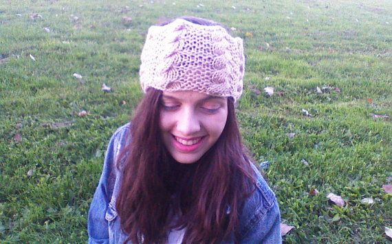 Vanilla latte cable knit headband for adults by HandmadeTrend