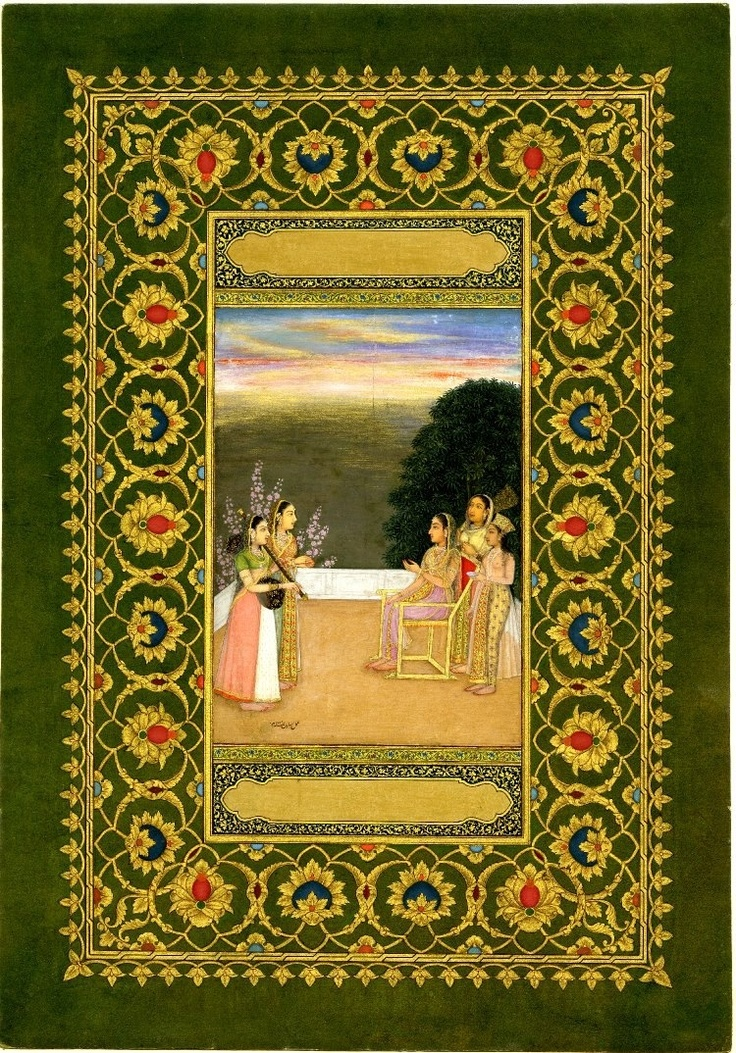 Mughal, Seated Lady listening to music.