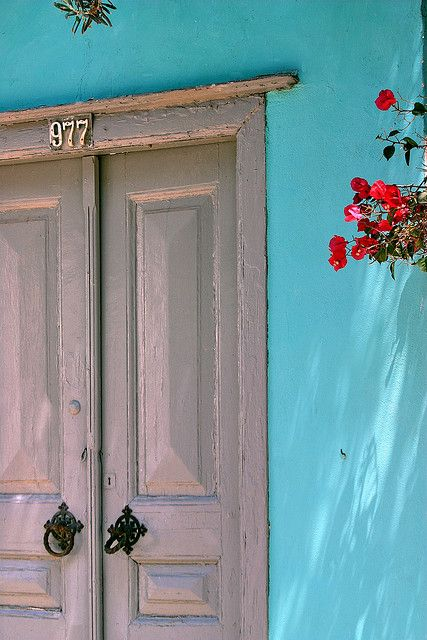 | ♕ | Turquoise wall - Hydra, Greece | by © Marite2007 | via ysvoice