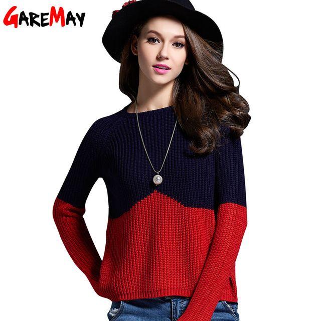 Вязаный свитер GAREMAY бренд женские короткие сращивания цветовой контраст простой тонкий пуловер на Алиэкспресс русском языке рублях