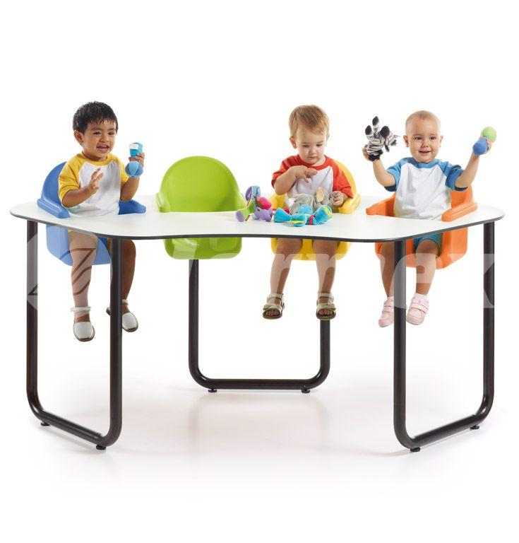 Mesa colectiva de guarder a para 4 bebes aulas bebes for Mobiliario para bebes