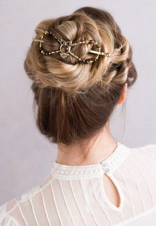Adorable Owl Flexi Hair Clip In A Gorgeous Bun Hairstyle