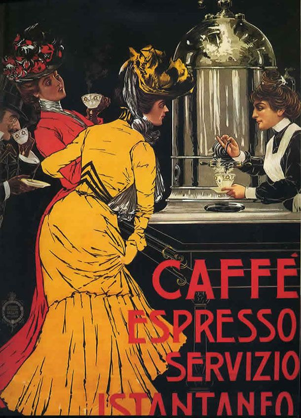 Vintage Italian Coffee. A Love Affair Between Italians and Espresso: