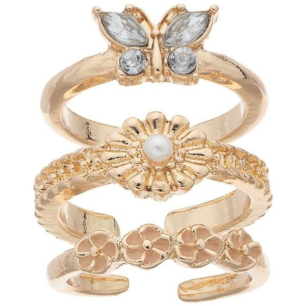 Mudd® Butterfly & Flower Toe Ring Set, Women's, GOLD ($8.40) ❤ liked on Polyvore featuring jewelry, rings, gold, gold flower ring, gold tone charms, gold butterfly ring, charm rings and gold tone rings
