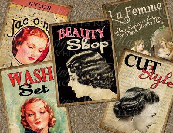 Beauty Shop / Hair / Salon ATC ACEO Hang by MasterpieceDesigns