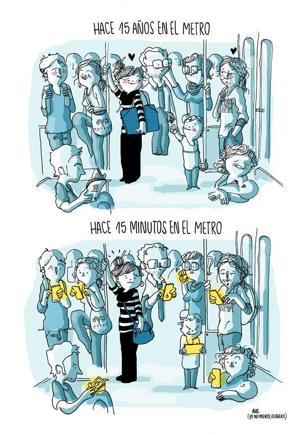 """""""In the metro 15 years ago"""" """"In the metro 15 minutes ago"""" // Agustina Guerrero: diario de una volátil ·en el metro·"""