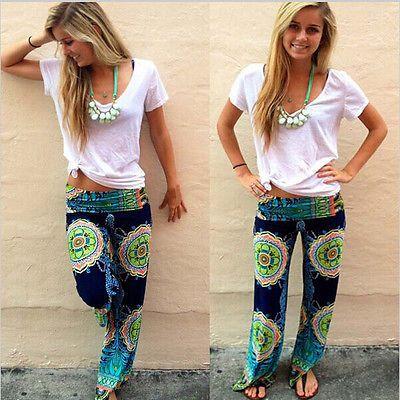 Women/lady Fashion Estampado Floral Harén Pantalones Sueltos Elástico Cintura Pantalones Casual