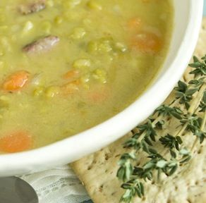 Love some homemade split pea soup...in the crock pot right now ham bone and all! This came out really yummy. My ham bone was huge, so I had to go to my big crock pot and add almost 8 cups of chicken broth. I also omitted the bay leaf since I couldn't find mine. It was pretty much GONE at the end of dinner! :)
