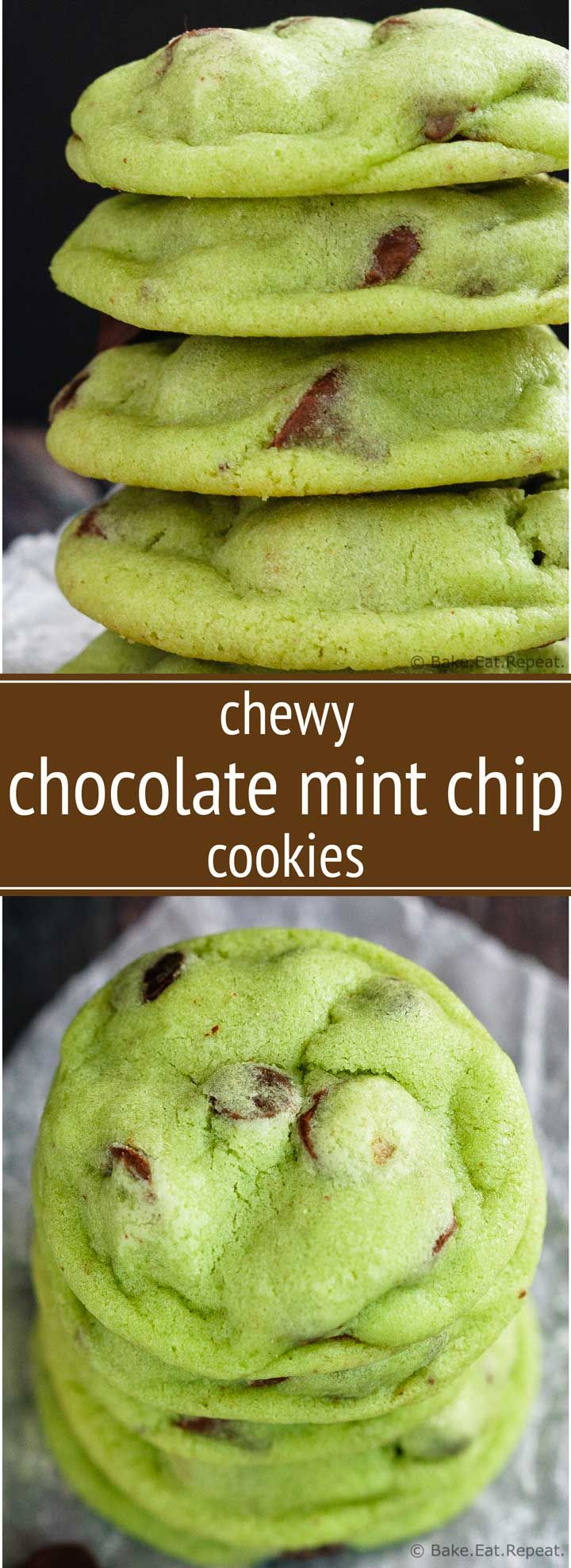 Chewy Chocolate Mint Chip Cookies - Chewy chocolate mint chip cookies that are coloured green for a perfect St. Patrick's Day treat - or any time really!