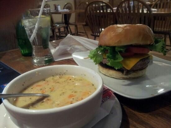 American burger & seafood chowder. West Street Willy's in downtown Goderich, Ontario.