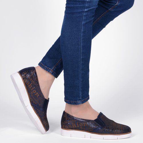 Pantofi albastri din piele naturala Dephne