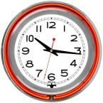 3 in. x 14 in. Orange Double Ring Neon Clock, Multi