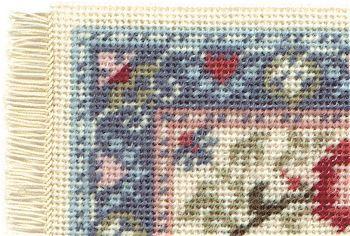 Miniature needlepoint tutorial - corner of a stitched carpet, needlepoint/tapestry stitching
