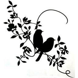 Väggdekor - Kära fåglar på kvist STOR