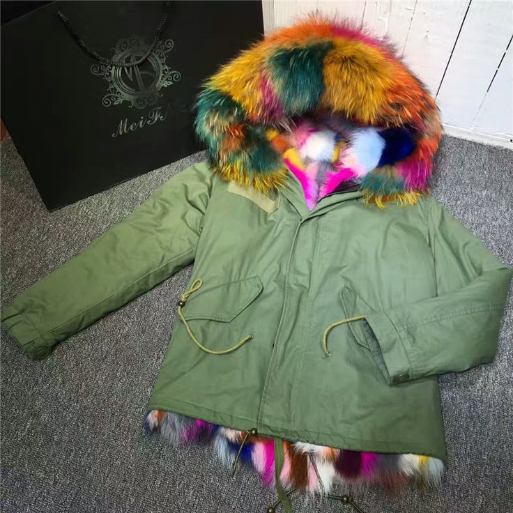 Colorful Mrs multi real fox fur coats women winter thick outwear warm jacket Raccoon dog fur collar hooded parka