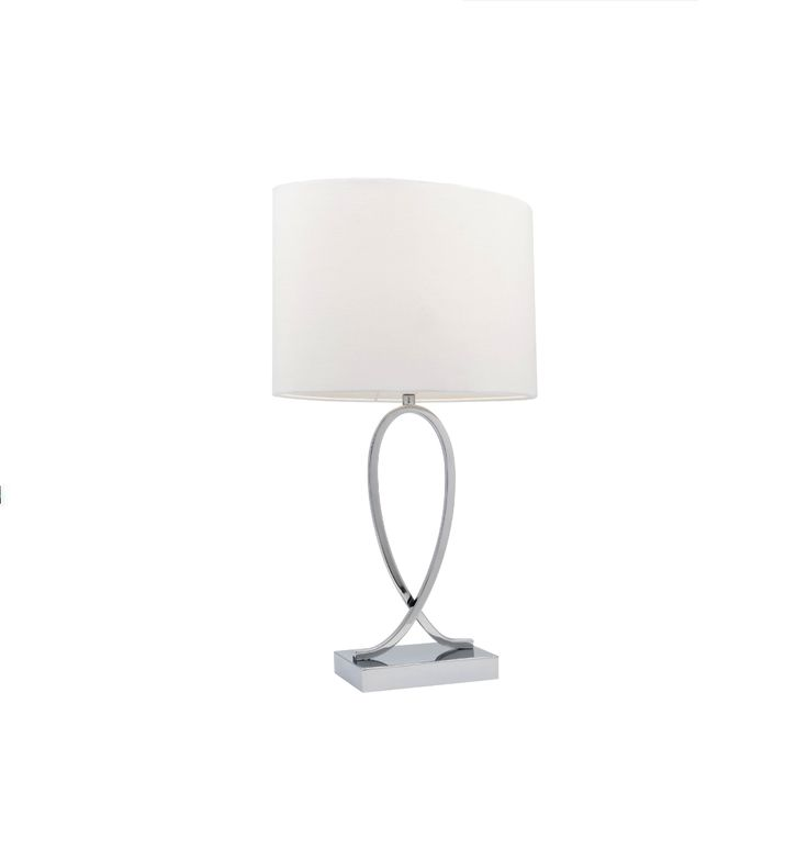Campbell Small Touch Lamp Chrome with White or Black Shade Mercator A28711S, $64.90
