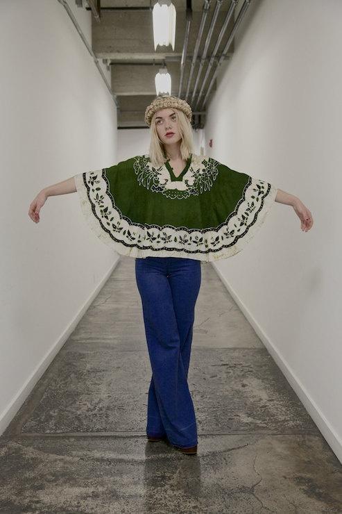 vintage blouse, 1970's bohemian batik floral green tent tunic, shirt, small - medium. $28.00, via Etsy.