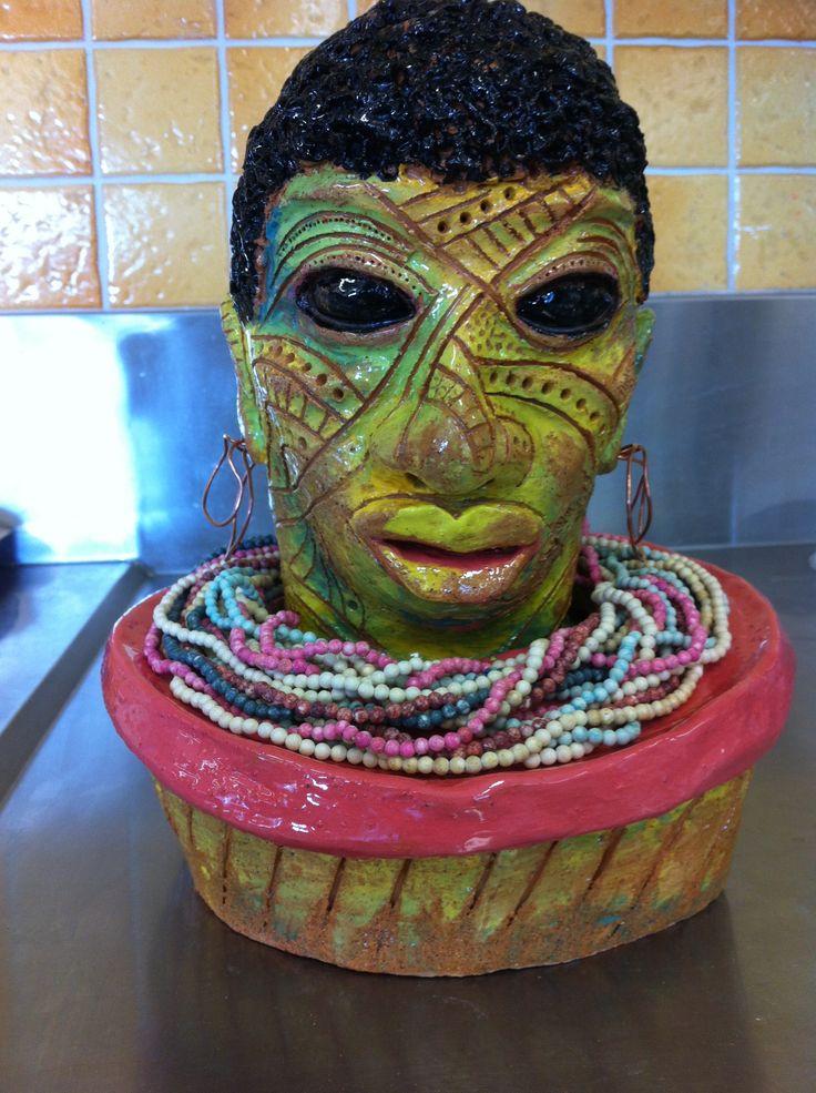 Buff Raku Clay Coil Construction Head / Bust  with ceramic underglaze