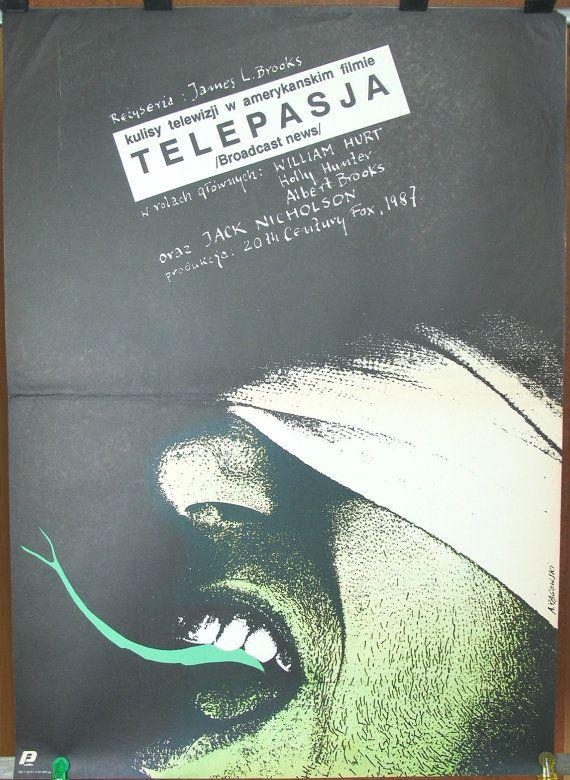 Broadcast News - US 1987 film by James L. Brooks. Original Polish 1989 poster by Andrzej Pagowski. Comedy. Drama. Romance. Wall art.