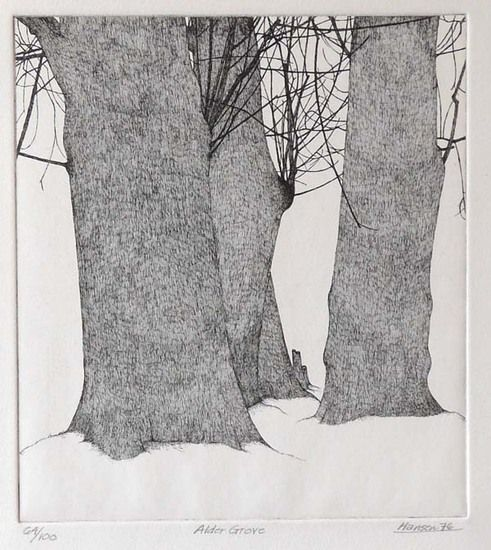 Alder Grove by Art Hansen - 1976 -Etching -- 9 x 10  --