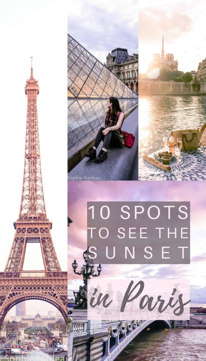 10 places to see sunset in Paris, France- All the best places to see sunsets in the French capital. Ideas & Inspiration including the Sein, Arc de Triomphe and more.
