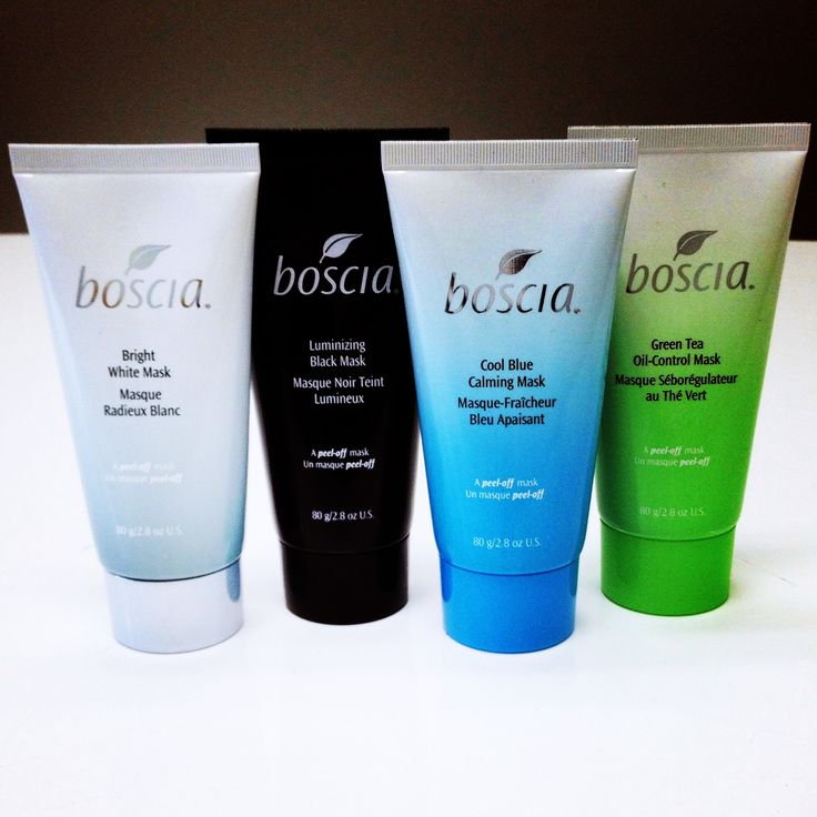 boscia peel-off Mask Collection (from left to right): Bright White Mask brightens dark spots, Luminizing Black Mask purifies pores, Cool Blue Calming Mask calms irritation, and Green Tea Oil-Control Mask mattifies oiliness.