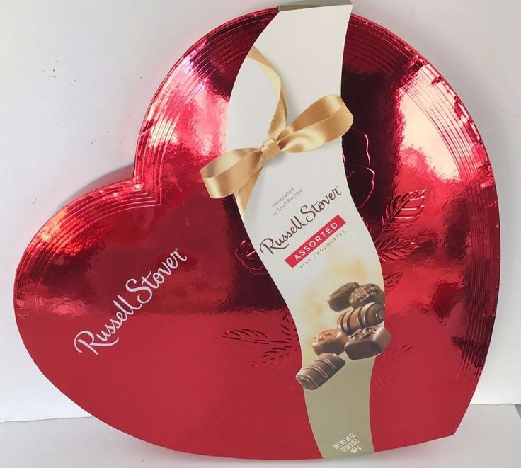HUGE 2lb box Russell Stover Assorted CHOCOLATES Red Foil Heart 34oz LOVE Large #eBayDanna