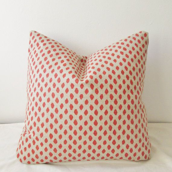 Dotted Coral Pillow Cover 18x18  Natural Throw Pillow, Accent Pillow, Toss Pillow 16 18 20 22 24 26 Euro