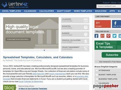 Excel Templates, Calendars, Calculators and Spreadsheets atak