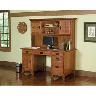 Shop for Home Styles Arts and Crafts Cottage Oak Pedestal Desk and Hutch Set. Get free shipping at Overstock.com - Your Online Furniture Outlet Store! Get 5% in rewards with Club O!