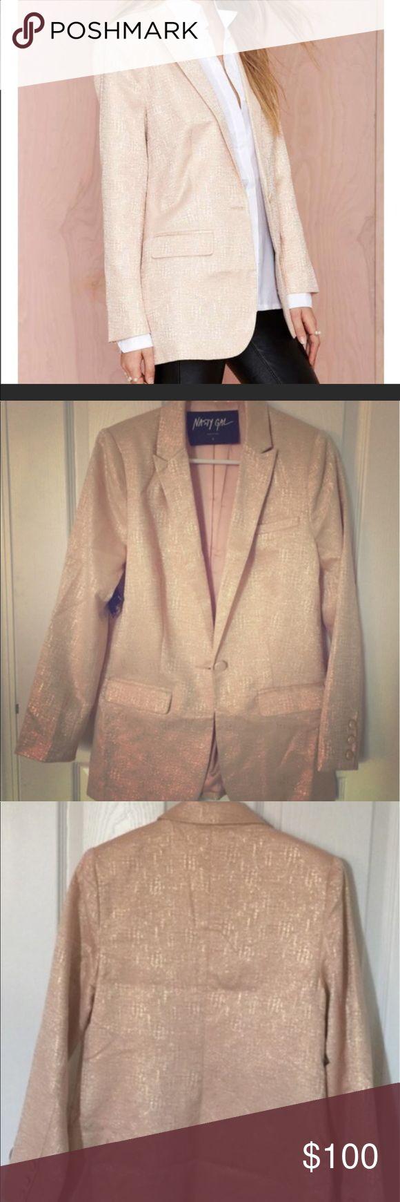 Nasty Gal Blazer. Cute, fun blazer with a bit of a metallic sheen for going out with friends, pair with skinnies, or to dress up a work outfit. New with tags, never worn. No offers will be considered if the 'make me an offer' feature isn't used. No trades, no PayPal. Nasty Gal Jackets & Coats Blazers