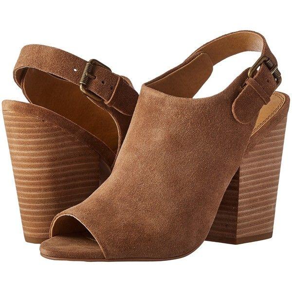Splendid Kelli (Dark Tan) High Heels ($75) ❤ liked on Polyvore featuring shoes, sandals, brown, peep toe slingback, brown leather shoes, high heel shoes, buckle strap sandals and brown high heel sandals