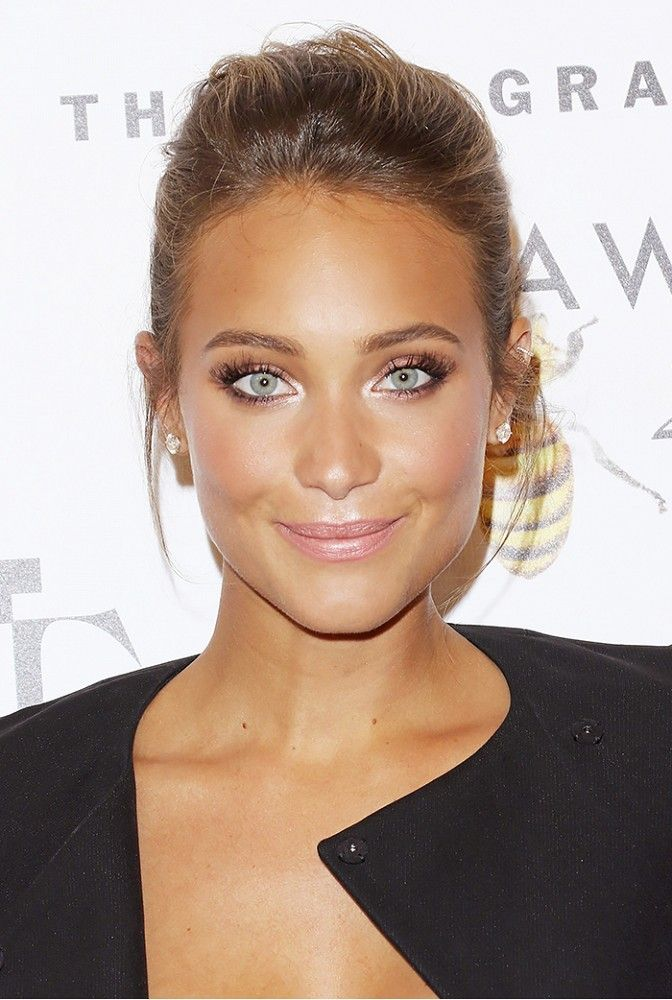 Hannah Davis with an effortlessly swept-back updo and rosy cheeks