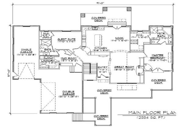Craftsman Style House Plan 4 Beds 3 Baths 2334 Sq Ft Plan 5 277 Craftsman Style House Plans Building Plans House Floor Plans